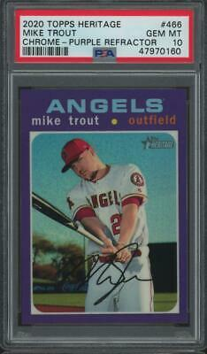 2020 Topps Heritage Purple Refractor #466 Mike Trout Gem Mint PSA 10