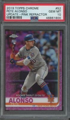 2019 Topps Chrome Update Pink Refractor #52 Pete Alonso RC Gem Mint PSA 10