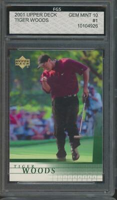 2001 Upper Deck Golf #1 Tiger Woods RC Rookie Gem Mint FGS 10