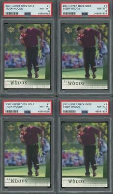 2001 Upper Deck Golf #1 Tiger Woods RC Rookie PSA 8 Lot Of 10