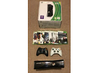 Xbox 360 250gb slim console, 2 controllers and 7 games - perfect condition
