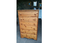 Solid Pine 6 Drawers Chest of Drawers