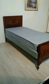 Lovely Antique Edwardian Burr Walnut Single Bed C1900