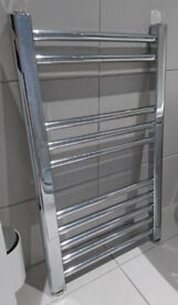 Chrome bathroom radiator / towel warmer. Approx 15.5 inches wide by 26 inches high (40 x 66cm)