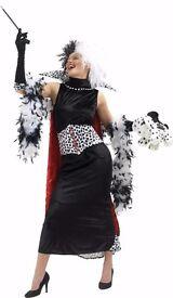 Cruella de vil fancy dress costume (101 dalmatians) - Adult size