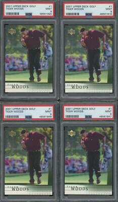 2001 Upper Deck Golf #1 Tiger Woods RC Rookie Mint PSA 9 Lot Of 10