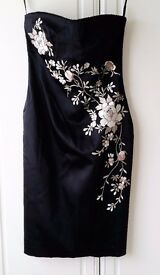 Warehouse size 14 Black Knee Length Embroidered Pencil dress With detachable straps. New With Tags