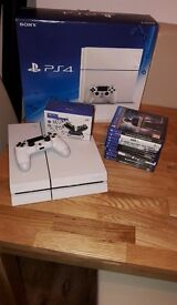 White Playstation 4 500gb with 9 games