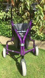 Tri wheel walker / mobility aid / rollator: lightweight, folds flat, locking brakes etc