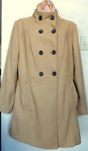 "NEW / XL Womens Wool Coat / CAMEL BROWN / High Neck / Knee Length / 14 16 / 40 42""b"
