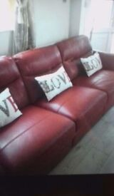 3 seat sofa red leather immaculate condition