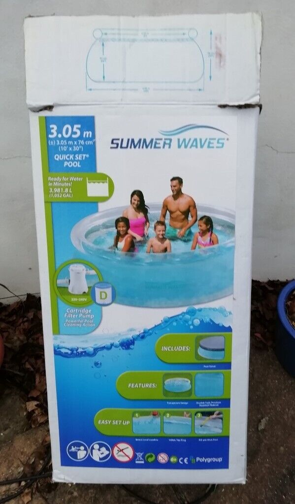 NEW 10ft (3 05m) Quick Set Ring Swimming Pool With Water Filter Pump &  Cover | in Camberley, Surrey | Gumtree
