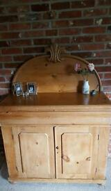 Victorian pine chiffonier/sideboard/cabinet with cushion drawer over two doors