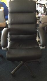 New Black Leather Chair Swivel Type Black Legs Fully Assembled for Business or Home Use