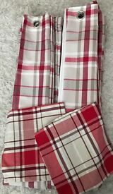 """90"""" Drop Red Checked Curtains / Matching Cushion Covers"""