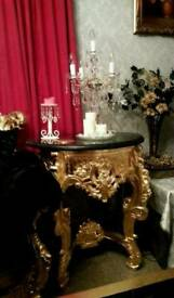 Coffee table baroque rococo french ornate carved gilding hand leaf