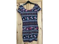 Pretty New Look Size 12 Floral / Aztec Style Short Dress / Long Top