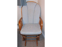 Dutailier Eagle Rocking Nursing Chair Blue and white fabric