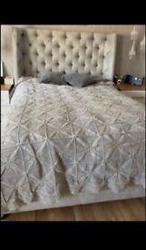 King size ottoman sterling silver velvet bed