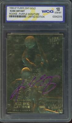 1996 Fleer 23KT Gold Limited Edition Purple Signature Kobe Bryant RC Gem Mint 10
