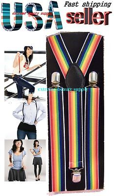 lady girl woman clip on halloween  suspenders rainbow D