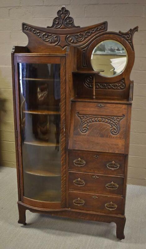 Antique Oak Secretary Desk Circa 1910 Round Beveled Mirror