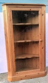 Glass fronted pine corner cabinet