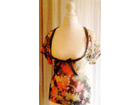 Black & Coloured Floral Chiffon Deep Scoopneck Summer Top with Bow.Size 12.