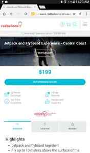 REDBALLOON VOUCHER FOR JETPACK AND FLYBOARD EXPERIENCE Newcastle Newcastle Area Preview