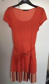 Beautiful Orange Knee Length pleated Dress By George Size 10