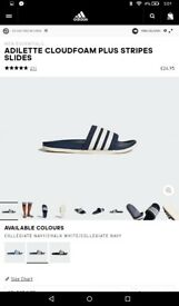 ADILETTE CLOUDFOAM PLUS STRIPES SLIDES!! BRAND NEW !! SIZE 9 !!