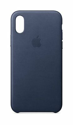 Genuine Apple iPhone X Leather Case Midnight Blue - MQTC2ZM/A - In Retail Box VG