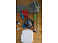 CARAVAN AWNING SKIRT, EXTENSION CABLES, COLLAPSABLE BIN