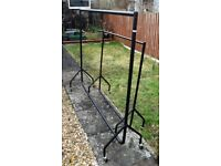 2 x BLACK METAL WHEELED CLOTHES RAILS *4ft and *6ft