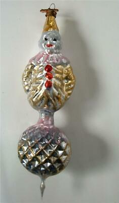 """Bethany Lowe German Glass Xmas Ornament Antique Design Clown On Ball 5.5"""" NEW"""
