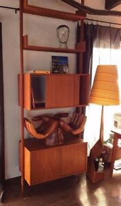 Mid-Century Modern Teak Modular Storage Display Shelving Room Divider w Tension Pole Refinished- Rare