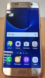 Samsung Galaxy S7 Gold 32gb- Grade A, perfect condition, unlocked with protective case & 64gb SDcard