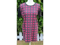 River Island red check long oversized top UK10.