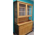 Glass Fronted Solid Oak Dresser