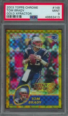 2003 Topps Chrome Gold Xfractor #148 Tom Brady Jersey #12/101 Mint PSA 9