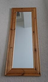 Sold wood wall mirror with fittings