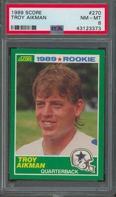 1989 Score #270 Troy Aikman RC Rookie PSA 8