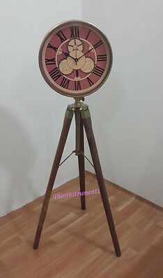 Beautiful Antique  Brass Vintage Nautical  Clock  On Tripod Nautical  Clock