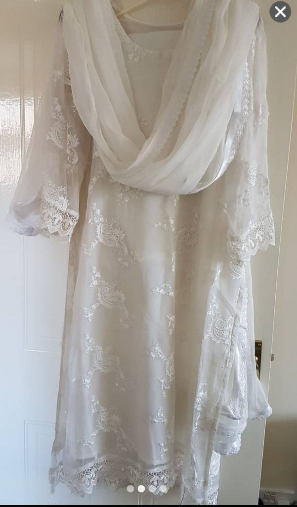 White chiffon with embroidery 3 piece.