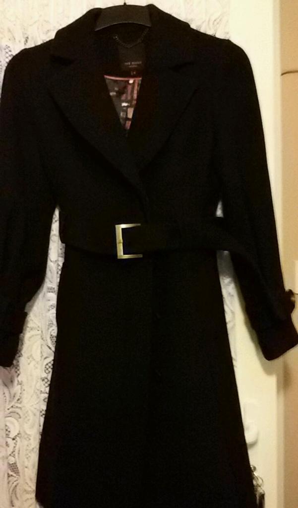 Ted Baker black lined winter coat size 10