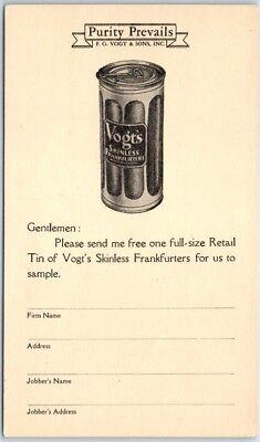 Vintage Advertising Postcard VOGT'S SKINLESS FRANKFURTERS Sample Can Order Form