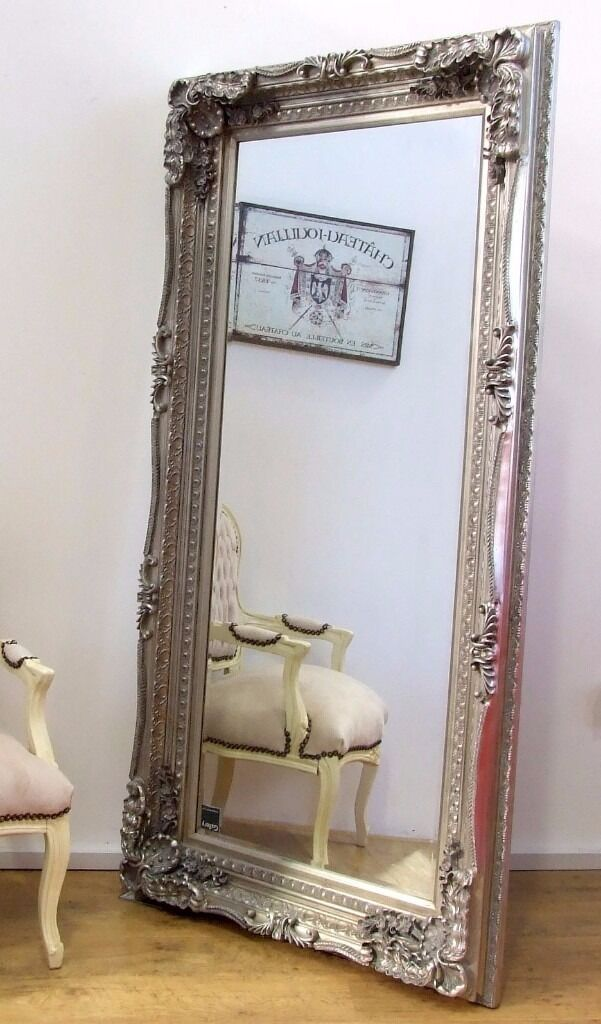 Louis Large Ornate Carved French Frame Wall Leaner Mirror Silver ...
