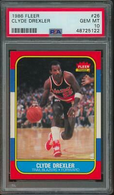 1986 Fleer #26 Clyde Drexler RC Rookie Gem Mint PSA 10