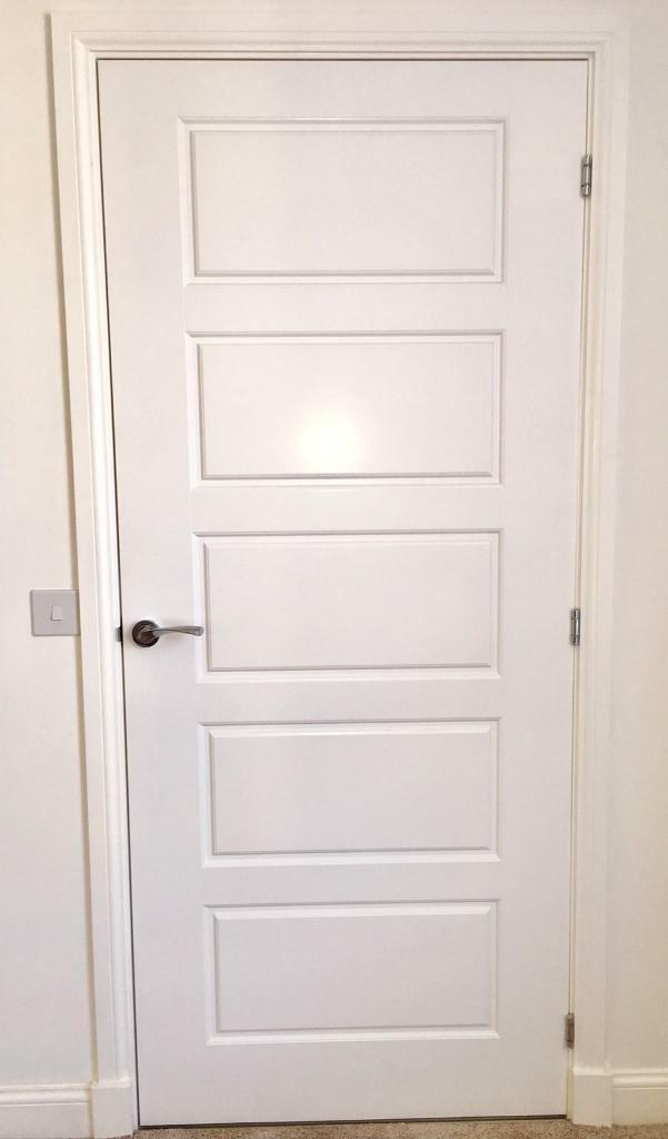 Brand New Freshly Painted Interior Door With Chrome Handles And