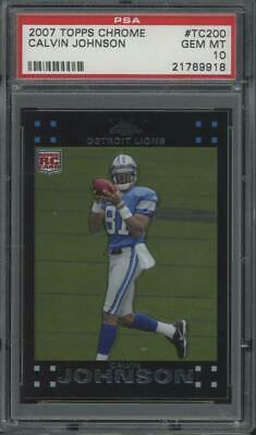 2007 Topps Chrome #tc200 Calvin Johnson RC Rookie Gem Mint PSA 10
